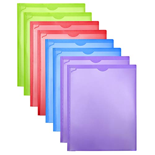 Folders Heavy Duty Folders with Clear Front Pockets 8 Pack, Plastic Folders with 3 Pocekts and 3 Prongs for Letter Size Paper, with Card Slot Assorted Colors School Work Home Use