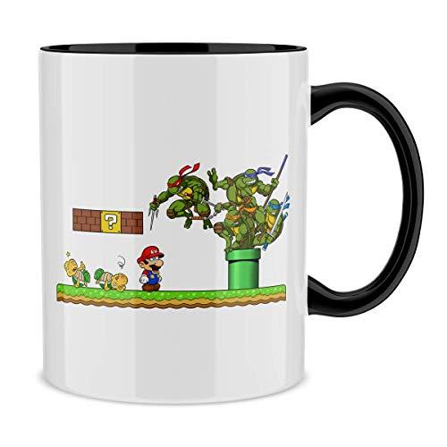 Taza con asa Negra e interior Negro parodia de Las Tortugas Ninja - Super Mario- Donatello, Michelangelo, Leonardo, Raphael y Super Mario (Taza de primera calidad - impresa en Francia - Réf : 427