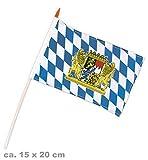 KarnevalsTeufel Bayern Fahne mit Holzstab und Bayern-Wappen Oktoberfest