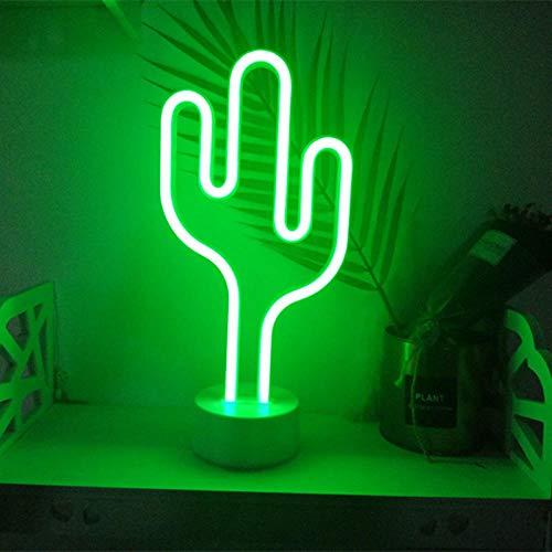 Relovsk tafellamp in de vorm van Cactus Al Neon met nachtlampje, werkt op batterijen voor kinderen