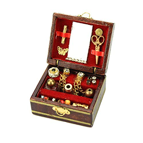 Cute Mini Makeup Wooden Jewelry Box Kid Toy for 1:12 Dollhouse Miniature Scene Model Accessories Kids Pretend Play Toy Perfect for Interior Model