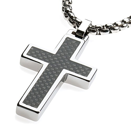 Unique GESTALT Tungsten Cross Pendant .4mm Surgical Stainless Steel Box Chain. Black Carbon Fiber Inlay. 22 inch Chain.