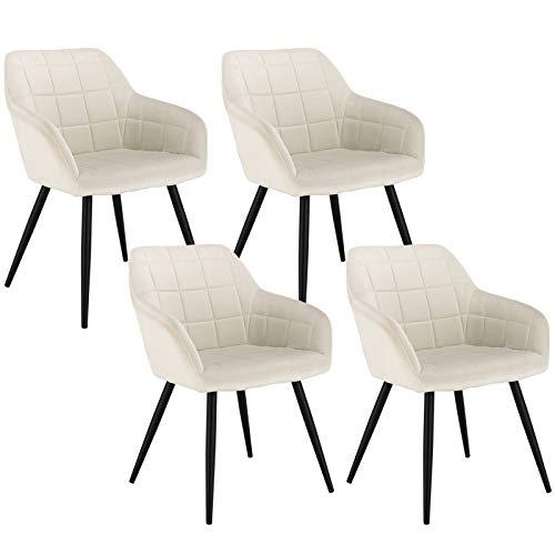 WOLTU 4 x Esszimmerstühle 4er Set Esszimmerstuhl Küchenstuhl Polsterstuhl Design Stuhl mit Armlehne, mit Sitzfläche aus Samt, Gestell aus Metall, Cremeweiß, BH93cm-4