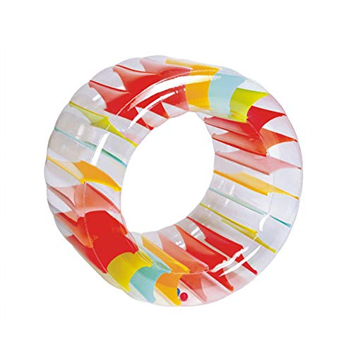 AUSUKY Giant Inflatable Land Wheel Jumbo Party Wheel Rainbow Inflatable Grass Water Wheel Roller Summer Pool Crawling Float Wheel Children Swimming Playing Toys Kids Indoor Outdoor Pool Play