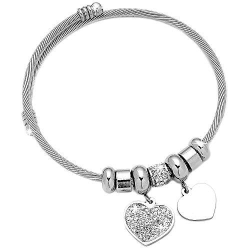 Beloved Bracciale da donna in acciaio snodabile e cristalli, bangle semirigido, Con charms pendenti (Cuori)