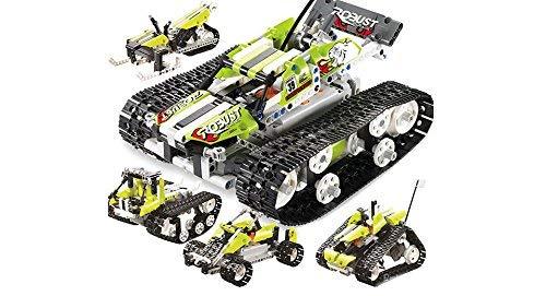 RCTecnic Tank Tank Kit met Afstandsbediening, 5 Voertuigen in 1 | RC Autoradio Afstandsbediening met oplaadbare batterij | Educatief speelgoed met afstandsbediening voor kinderen, 402 stuks