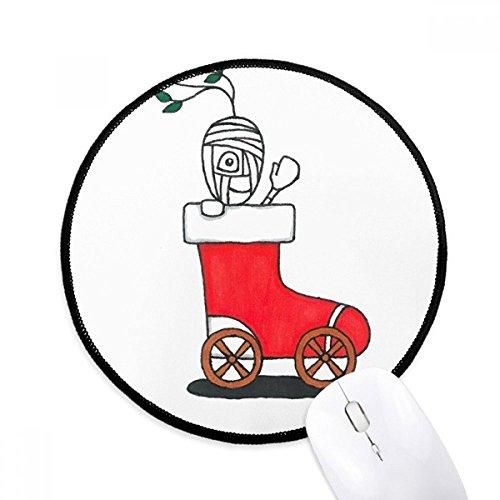 Horus Kerstmis Slee Blad Bloem Ronde Antislip Mousepads Zwart Gestikte Randen Game Kantoor Gift