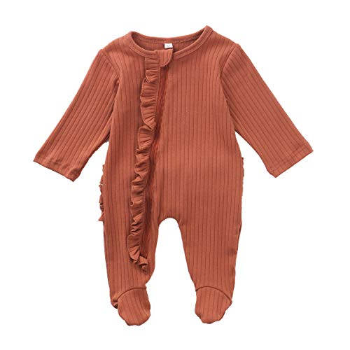 Unisex Newborn Baby Long Sleeve Zipper Footed Pajamas Solid Color Knitted Ribbed Romper Ruffle Jumpsuit Playsuit (B-Orange Red Zipper Footed, 3-6 Months)
