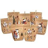 PaPIerDraCHeN Calendario dell'avvento Fai da Te da riempire - Pattinatore di Ghiaccio da attaccare - con 24 Sacchetti di Carta Marrone e Grandi Adesivi per Bambini - Natale