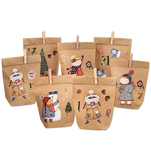 Papierdrachen Premium Adventskalender zum Befüllen - Eisläuferin zum Aufkleben - mit 24 braunen Papiertüten und tollen Stickern für Kinder - Weihnachten