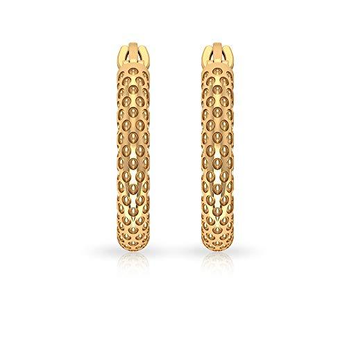 Pendientes de aro con textura de oro antiguo, estilo art decó, redondos, en relieve, para dama de honor, pendientes de oro de 14 quilates, cierre ruso