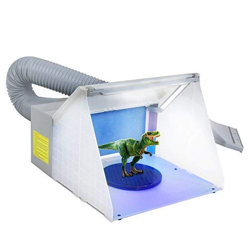 ZENY LED Lighting Hobby Airbrush Spray Booth Kit w/Fun for Painting Art, Cake, Craft, Hobby, Nails, T-Shirts, w/ 3 LED