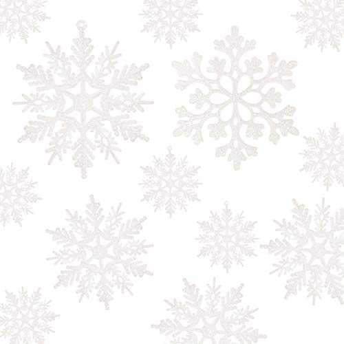 36pcs White Snowflake Ornaments - Plastic Glitter Snowflake Ornaments for Christmas Tree Decorations Size Varies