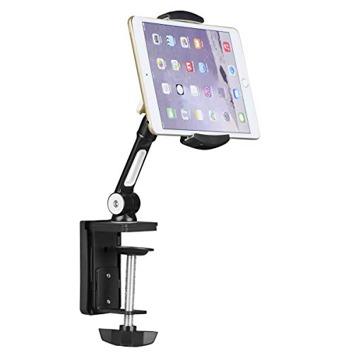 suptek Aluminum Tablet Desk Mount 360° Flexible Cell Phone Holder Stand for iPad, iPhone, Samsung, Asus and More 4.7-11 inch Devices, Good for Bed, Kitchen, Office (YF108B)