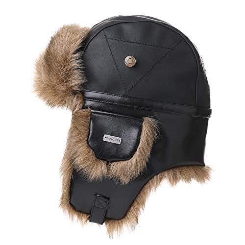Fancet Unisex Winter Piloot Pet Oorflap Jacht Trapper Hoed Ski Sneeuw Hoeden Waterdicht Faux Leer/Waxed Katoen
