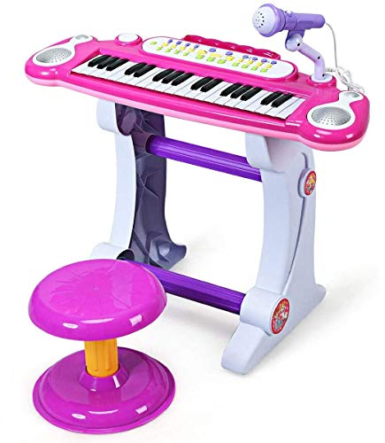 Costzon Electronic Keyboard 37-Key Piano, Musical Piano w/Record and Playback for Kids, Working Microphone & Stool, Pink