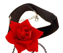 Elegant Retro Rose Flower Collarbone Chain Clavicle Necklace Gothic Lolita Black Lace Collar Choker Ornament Wedding Halloween Accessories Perfect Xmas Gift for Lady (Red) #2