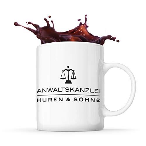 Tasse Humor Anwaltskanzlei Huren und Söhne Kanzlei Anwalt Justiz Geschenk Kaffee Tee Tasse Design schwarzer Humor