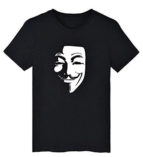 T-Shirt V per Vendetta - Anonymous - Manica Corta - Maschera - Nero - Taglia XL Idea Regalo Natale Compleanno Festa