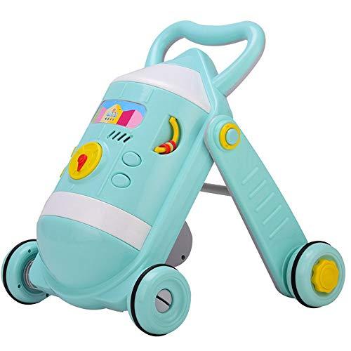 Toy Roll Push et Pull Baby Walker Cart 0-2 Ans Enfant Bébé Multifonction Avec Musique Réglable Walker Jouet Walker Walker Chariot Enfant en bas âge éducatif ( Couleur : Vert , Taille : 49*51*45CM )