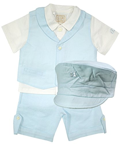 Emile et Rose festlicher Leinen-Anzug mit Hemd, Weste, Shorts & Cap hellblau für Jungen, Festmode für Taufe & Hochzeit, Gr. 80