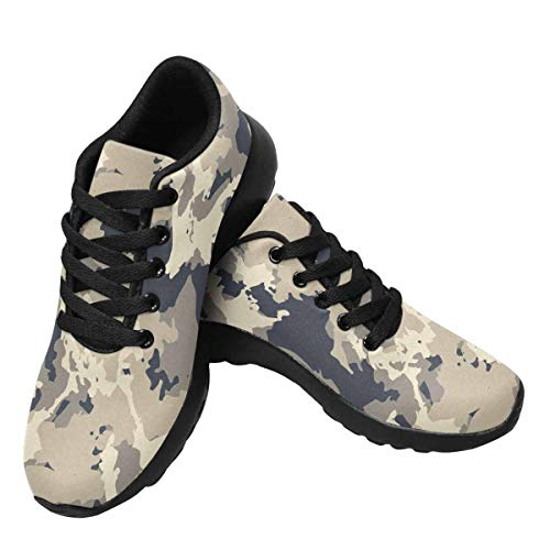 InterestPrint Womens Jogging Sneakers Outdoor Sport Cross Training Shoes Urban Camouflage of Various Shades of Beige and Navy US13