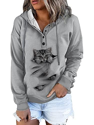 Neoucdy Sudaderas con capucha y sudaderas para mujer con estampado de gato y manga larga con cordón, gris, L