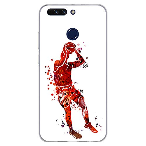 BJJ SHOP Funda Transparente para [ Huawei Honor 8 Pro/Honor V9 ], Carcasa de Silicona Flexible TPU, diseño: Jugador de Baloncesto Watercolor