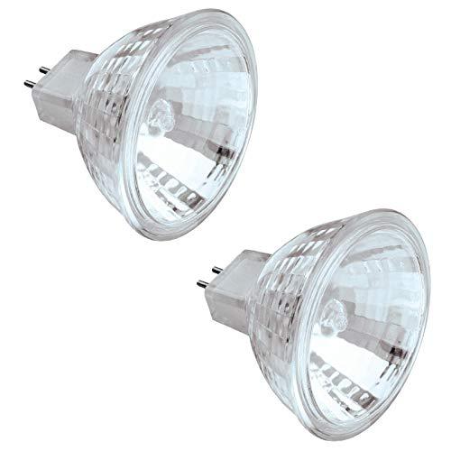 Dysmio Lighting 20 Watt MR16 Halogen Low Voltage Xenon Flood Light Bulb 2950K Clear Lens GU5.3 Base, 12 Volt -2-Pack
