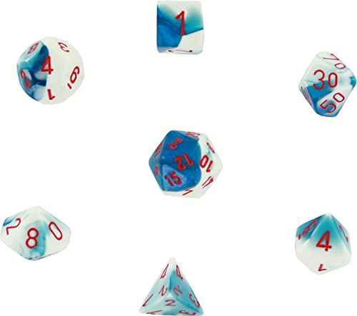 Polyhedral 7-Die Gemini Dice Set: Astral Blue / White with Red (d4, d6, d8, d10, d12, d20 & d00)