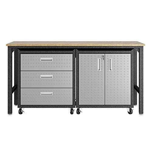 Manhattan Comfort Fortress Mobile Space Saving Steel Garage Storage Cabinet and Work Task Table Set, Gray