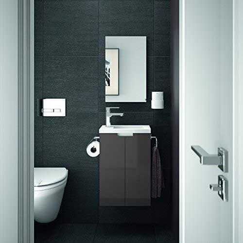 Allibert Badmöbel Gäste-WC Set vormontiert weiß anthrazit grau Glanz Waschtisch 40 cm