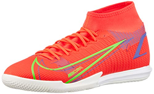 Nike Superfly 8 Academy IC, Football Shoe Hombre, Bright Crimson/Metallic Silver-Indigo Burst-White-Rage Green, 41 EU