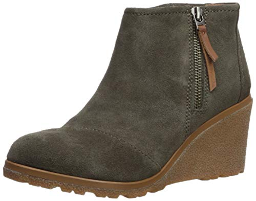 TOMS Women's Avery Ankle Boot, Tarmac Olive Suede Mix, 5 Medium US