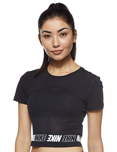 Nike PRO, Sport Shirt Donna, Nero Black/White 010), Large