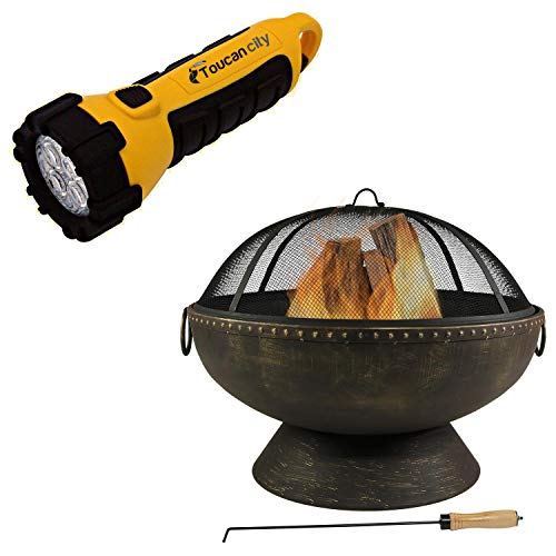 Toucan City LED Flashlight and Decor 30 in. x 24 in. Round Bronze Steel Wood Burning Fire Bowl with Handles and Spark Screen NB-FFP30