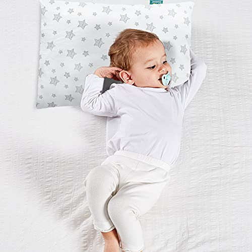 Baby Toddler First Pillow with Pillowcase (13 x 18), Baby Toddler 's Flat Pillows for Boy and Girls, Machine Washable Soft Travel Pillow Fits Mini Crib or Crib, White
