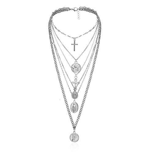 Damen Halskette,Vintage Multi Layer Geschnitzte Anhänger Choker Halskette Gothic Kreuzkette Long Women Jewelry-B