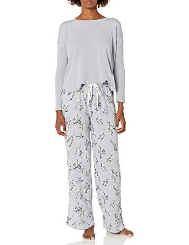 Karen Neuburger Women's Long Sleeve Crew Neck Pajama Set, Zen Blue/Floral, S