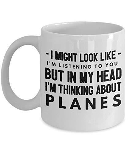Mesllings Grappige vliegtuigen mokken koffie kopje thee geschenken humor voor hem haar vrouwen mannen collega stewardess kantoor liefde piloot passagier houdt van vader Ik zou kunnen lijken alsof ik ben ik luister naar u, maar in mijn hoofd