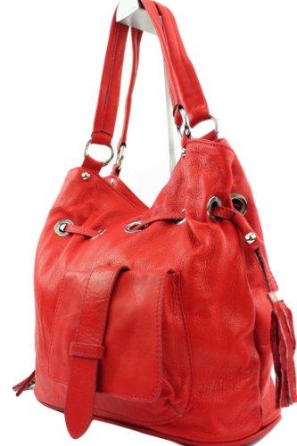 modamoda de - DS53 - ital Handtasche Schultertasche Nappaleder, Farbe:Hellrot