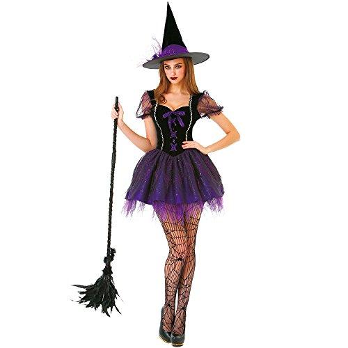 Wicked Witch Women's Halloween Costume Sexy Spellcaster Classic Fairytale Dress Purple
