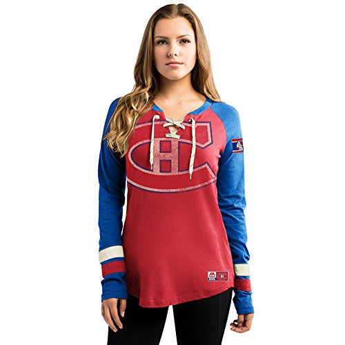 Majestic Athletic NHL T-Shirt Trikot Damen Women Montreal Canadiens Light Blue HipCheck Eishockey Shirt (L)
