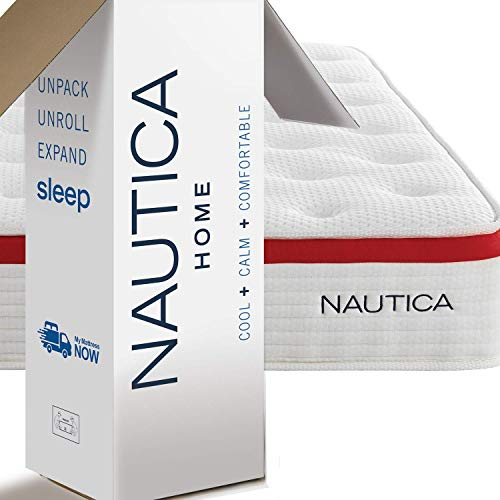 "Nautica Home Mattress, 10"" Harmony, King Hybrid Bed with Cooling Engineered Latex Foam and Pocketed Springs, CertiPur-US Certified Foam, Bed in a Box, 100-Night Trial"
