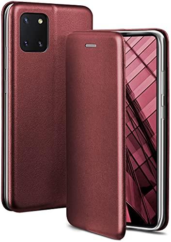 ONEFLOW Handyhülle kompatibel mit Samsung Galaxy Note10 Lite - Hülle klappbar, Handytasche mit Kartenfach, Flip Hülle Call Funktion, Leder Optik Klapphülle mit Silikon Bumper, Weinrot