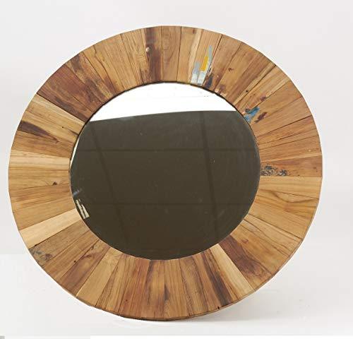 AubryGaspard - Espejo de pared redondo (madera reciclada, 77 cm)