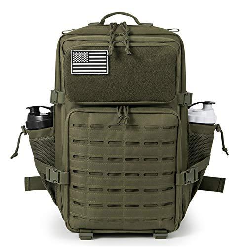 ELITEX Mochila 45L 2021 Táctica Militar Bandera USA Impermeable para Crossfit Caza Aire Libre Deportes Gimnasio Portatil Oxford 900D (Verde)