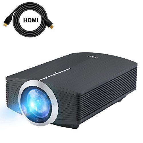"""DeepLee Mini Projector, 120"""" Home Theater Video Projector with AV USB SD Card HDMI for Home Cinema Video Game Courtyard Movie Night Support PC Laptop PS3/PS4 Xbox Wii Projector (DP500 Black)"""