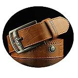 ROMQUEEN Cinturón de Cuero para Hombre Cinturón Hombre Verde Sencillo y Clásico Perfecto Regalo Cinturón Hombre Camello de 110CM