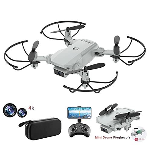 allcaca RC Mini Drone con Telecamera 4K HD Doppia, RC Quadcopter Drone Pieghevole WiFi FPV Drone, Un Pulsante di Decollo   Atterraggio, modalità Senza Testa 3D Flip, per Bambini Regalo, Grigio
